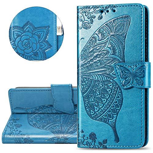 HMTECH Galaxy A80 Hülle,Galaxy A90 Handyhülle Prägung Schmetterling Blumen Flip Case PU Leder Cover Magnet Schutzhülle Tasche Skin Ständer Handytasche für Samsung Galaxy A80,SD Butterfly Blue -