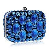 LWZY Strass abend handtasche,Pailletten-abendtasche,Banketttasche-Blau 6x11x16cm(2x4x6inch)