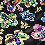 Schwarz Happy und Bright farbigen Blume Satin Stoff Fancy