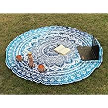 Tela redonda de mandala estilo hippie diseño indio bohemio, ideal como colcha, tapiz decorativo