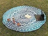 Raajsee Indien Strandtuch Rund Mandala Hippie Blau Türkis /Groß Indisch Rundes Baumwolle Mehrfarbige/ boho Runder Yoga Matte Tuch Meditation / Tischdecke Rund aufhänger Decke picknick handgefertigt Teppich 70 inch