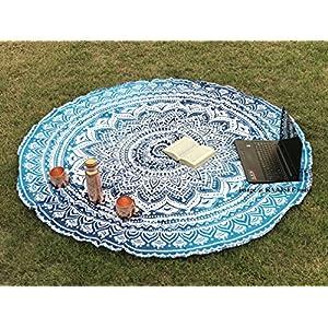 raajsee Indien Strandtuch Rund Mandala Hippie/Groß Indisch Rundes Baumwolle/Boho Runder Yoga Matte Tuch Meditation…