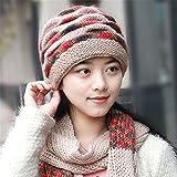 Les femmes Les femmes de Winter Hat Scarf costume deux oreille hat hat tricoté bonnet cap mère haute élasticité élastique