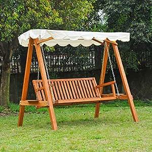 Dondolo con baldacchino 3 posti altalena da giardino panchina swing in legno casa e - Amazon dondolo da giardino ...