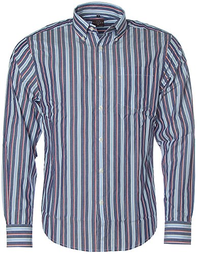 Kitaro Herren Langarm Shirt Hemd Freizeithemd Button-Down Streifen Navy