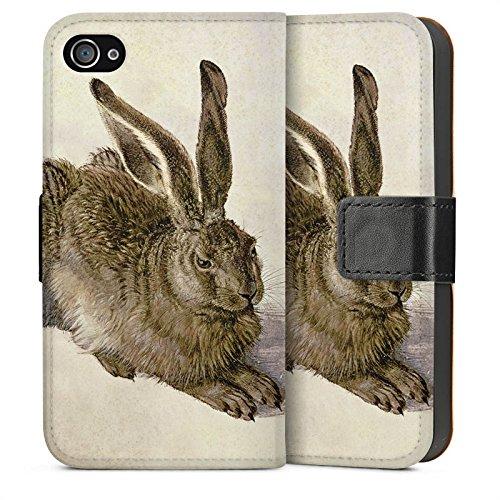 Apple iPhone 4 Housse Étui Silicone Coque Protection Lapin Lapin Levraut Sideflip Sac