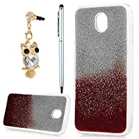 Galaxy J5 Case 2017, YOKIRIN Luxury Bling Glitter Sparkle Designer Case Ultra Slim Fit Lightweight Shockproof Scratch Resistant TPU Gel Soft Thin Silicone Back Cover for Samsung Galaxy J5, Sliver and Red
