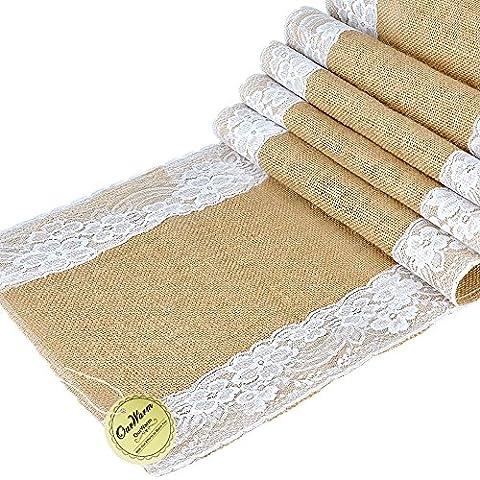 Ourwarm Chemin de table en toile de jute et dentelle Écru, Tissu, White Lace Both Side, 1 pièce