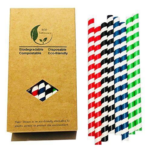 10mm Rayures colorées papier à boire Smoothie pailles, Vert/rouge/noir/bleu marine à rayures chaque 8Total 32 -