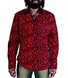 Chenaski 70er Jahre Wellenmuster Herrenhemd Rot Schwarz L