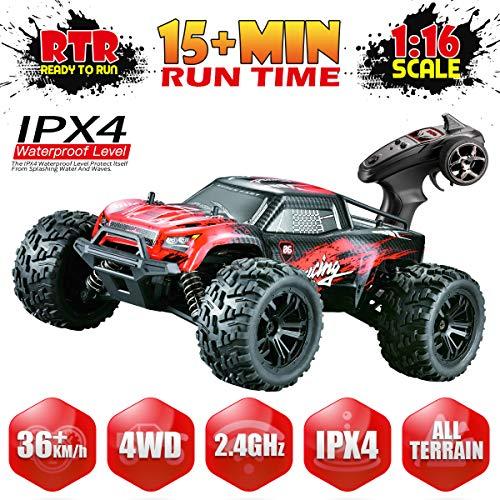 Hosim Fernsteuertes Auto 1:16 Maßstab, RC Offroad Car 4WD, Elektronische Monstertruck, Outdoor Spielzeug für Kinder & Erwachsen (Rot) Modellnummer: G174