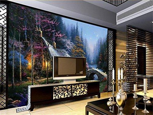 Abihua Wandbilder 3D Wallpaper Benutzerdefinierte Fototapete Wohnzimmer Wandbild Wald Brücke Hütte Ölgemälde Sofa Tv Hintergrundbild Für Die Wände 3D 280Cm X 180Cm
