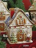 Porta biscottiera casa con decoro babbo natale in ceramica by Hervit Creation