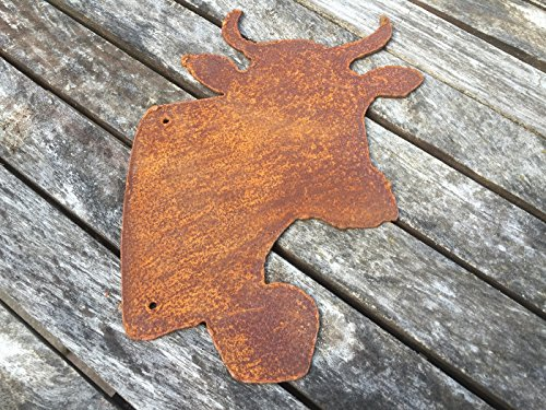 Saremo Kuhkopf mit Glocke zum Hängen Kuh 21cm Edelrost Garten Deko Metall Rost