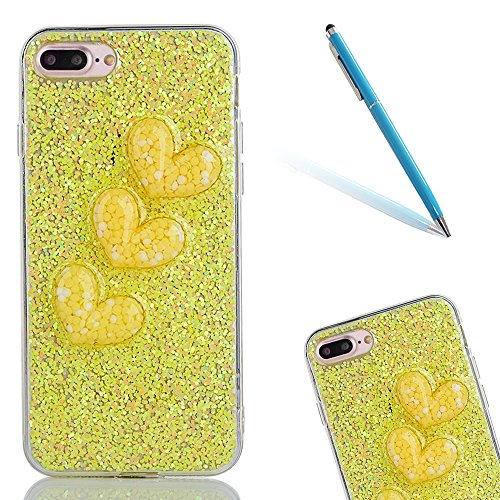 "Soft TPU Silicone Cover pour Apple iPhone 7Plus 5.5"", CLTPY 2in1 Jelly Bling Diamant Série Case avec Plaquage Bord Incurvée Résistant Aux Rayures Couverture pour iPhone 7Plus + 1x Stylet - Violet Yellow"