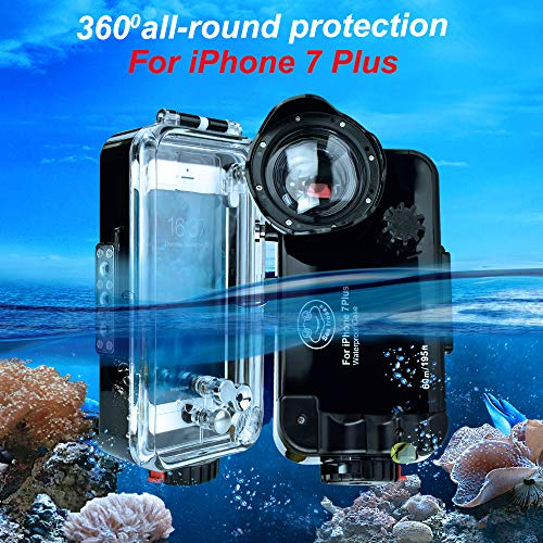 iPhone 7 Plus/8 Plus Black Waterproof Case,Sea Frogs 195FT/60M IPX8 Certified Waterproof Underwater Swimming Diving Surfing Snorkeling case with Wide Angle Dome Port Lens 5.5inch