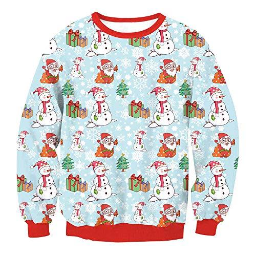 MERICAL Damen Plus Size Weihnachts Sweater Druck Rundhalsausschnitt Sweatshirt Tops Bluse(EU:46/CN:M,Rot)