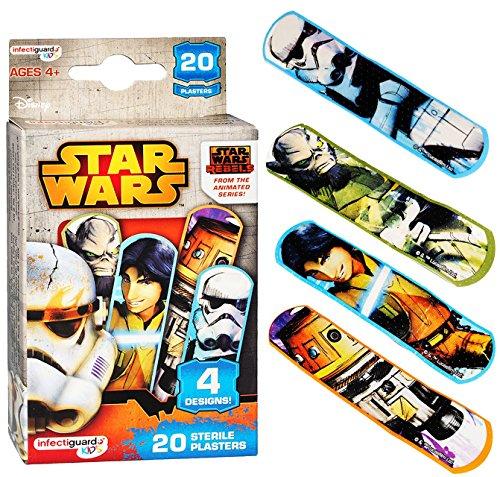alles-meine.de GmbH 20 TLG. Pflasterset -  Star Wars / Rebels  - wasserfeste Pflaster - bunt Kinderpflaster - Darth Vader / Stormtrooper - Yoda - für Kinder und Erwachsene / Tr..