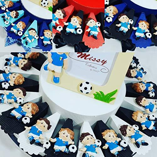 Torta bomboniere calcio squadra del cuore nascita, battesimo, comunione, cresima, compleanno (torta italia 20 fette + 20magneti + 1 centrale + confetti)
