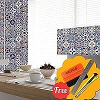 Walplus Entfernbarer Selbstklebend Wandkunst Aufkleber Vinyl Wohndeko DIY  Wohnzimmer Schlafzimmer Küche Dekor Tapete Royal Mix Blau