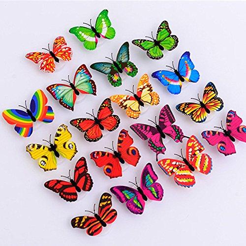 Marlene1988 Nachtlichter Schlummerleuchten für Kinder Nachtlicht Wandaufkleber Schmetterling 3D Schmetterling LED Nachtlichter
