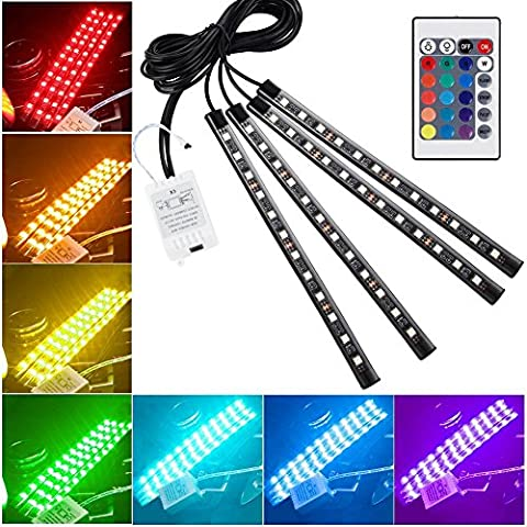 Openuye 7 Color 48 LEDs Waterproof Car LED Interior Atmosphere Decorative Strip Lights, Glow Neon Floor Decoration Underdash Lighting Lamp Kits with IR Wireless Remote Control & Car Charger DC 12V