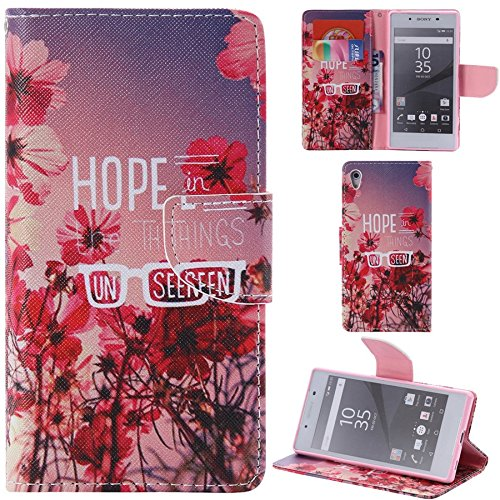 Ooboom® Sony Xperia Z5 Coque PU Cuir Flip Housse Étui Cover Case Wallet Portefeuille Fonction Support avec Porte-cartes pour Sony Xperia Z5 - Don't Touch My iPhone Hope