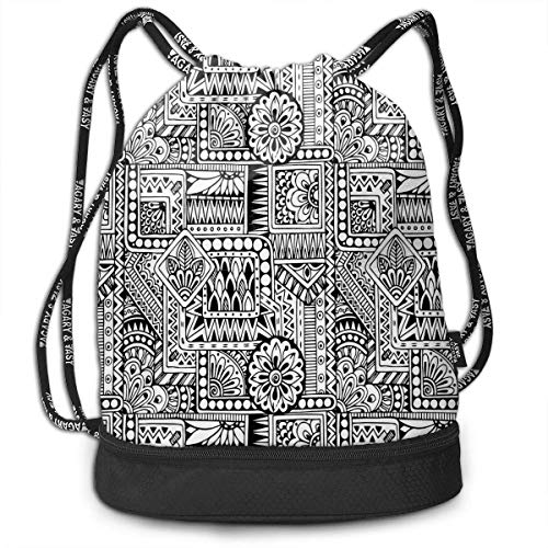 nbvnc Cinch-TascheTurnbeutelDrawstring Backpacks Bags,Ethnic Design with Some Geometrical Shapes with Leaves and Dots African Culture,Adjustable Light Casual Daypack for Shopping Sport Yoga -