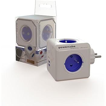 Allocacoc PowerCube Original DuoUSB - Alimentation avec 4 prises 230V et 2 prises USB (2.1 A), FR, Blanc et Bleu