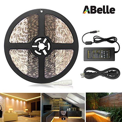ABelle warmweiß LED Lichtleiste 10m 5050 SMD 600 LEDs LED Lichtband 32.8ft mit DC 24V 6A Netzteil für Haus Küche Weihnachtsfest Hochzeit Schaufenster Dekoration (Perle Weiße Weiche,)
