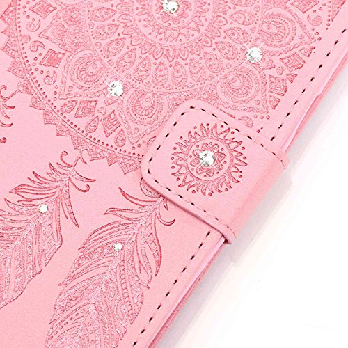 iPhone 7 Wallet Case Cover - Cozy Hut ® Slim Full Body Cuir Coque Pour iPhone7 Flip Bling Diamant strass Reliefs Campanula Design PU Dragonne Détachable Étui Portefeuille Housse Etui - Blanc Violet rose