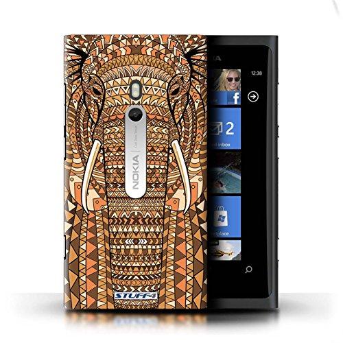 Coque en plastique pour Nokia Lumia 800 Collection Motif Animaux Aztec - Hibou-Couleur éléphant-Orange