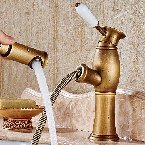 baianle Badezimmer Waschbecken Wasserhahn Gold Single Griff Messing Pull Out Einhebelmischer-Pull Down Cold & Hot Bath Spüle - Pull-down-spüle