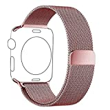 Apple Watch Armband Series 1 Series 2 38mm Roségold, PUGO TOP Magnetic Milanaise Armband Edelstahl...