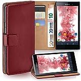 moex Sony Xperia Z1 | Hülle Dunkel-Rot mit Karten-Fach 360° Book Klapp-Hülle Handytasche Kunst-Leder Handyhülle für Sony Xperia Z1 Case Flip Cover Schutzhülle Tasche