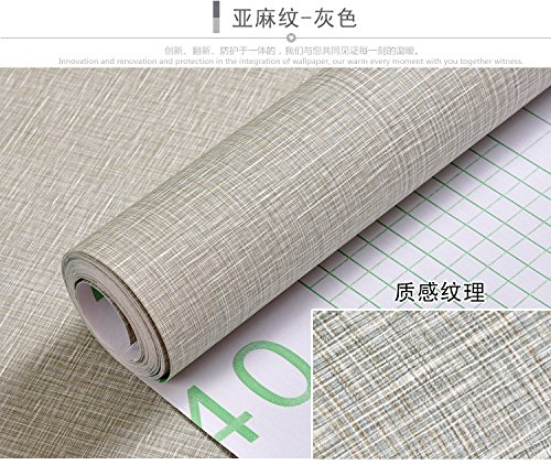 ZCHENG Wall Paper Self-Adhesive Waterproof Gray 60Cm Width Of 10 M 10 M Long A Roll Of Quarters Cozy Bedroom Wallpaper, Linen Gray 60Cm Wide, 5 M Long.579117