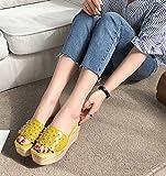 SCLOTHS Sommer Frauen Flip Flops Äußere Abnutzung Dick Unten Atmungsaktiv Hang Mitte der Ferse Gelb.7 US/37.5 EU/4.5 UK