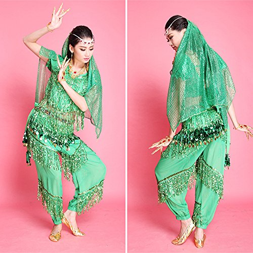 2015 Neue Damen Bauchtanz Pailletten Quasten indischen Tanzkostüme /4 Farben (Gesellschaftstanz Latein Kostüme)