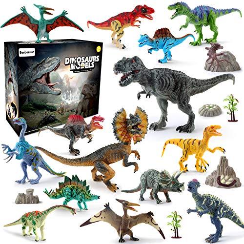 BeebeeRun Dinosaurier Spielzeug Set 21 PCS,Realistische Dinosaurier Figur Modell für Kinder Jungen Mädchen Party Dekoration,14 Kunststoff Dinosaurier Figuren + 2 Bäume+ 4 Steingarten + 1 Karte