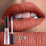 hkfv Superb encantador elegante color pintalabios Creative atractivo mejor maquillaje labios decoración para fiestas color clavos larga duración pintalabios impermeable Metal mate brillo de labios delineador de labios Líquido Maquillaje rojo Color G Talla:2 cm*2 cm*7cm