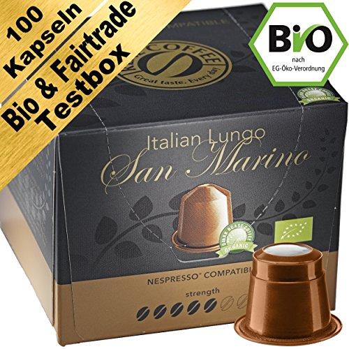 Bio & Fairtrade Testbox: 100 Nespresso kompatible Kapseln. Testgewinner.