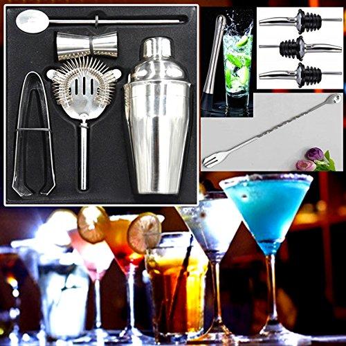 comprare on line Set da cocktail Manhattan,12pezzi, kit per preparare cocktail a casa composto da shaker, misurino, bar spoon a spirale, pestello, mixer, beccuccio versatore per bottiglia, colino e pinze per ghiaccio, prodotto da The Wolf Moon® prezzo