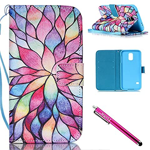 Galaxy S5 mini Case, Firefish Kickstand Flip [Card Slots] Wallet Cover Double Layer Bumper Shell with Magnetic Closure Strap Case for Samsung Galaxy S5 mini (SM-G800)-Lotus