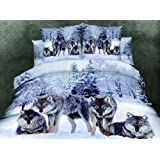 Cliab Snow Wolf Duvet Cover King Set 3 Pieces 100% Cotton by Cliab