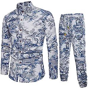 CICIYONER Herren Leinenhemd und Leinenhosen Strand Urlaub Freizeitanzug Männer T-Shirts Hosen Anzug Baggy Baumwolle Leinen langarmhemd Hawaii-Print thermoshirt