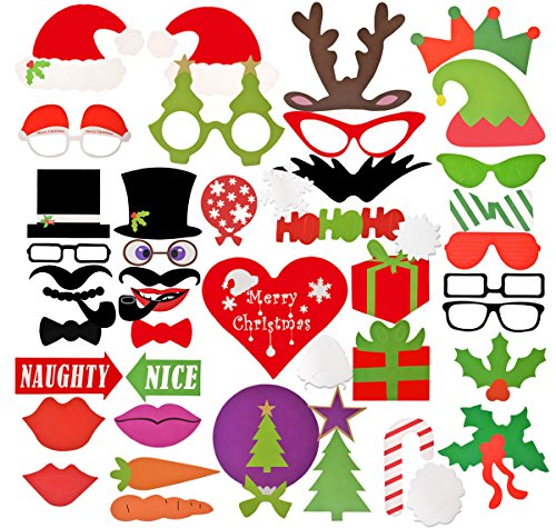 Coxeer Puntelli di Baffi Decorazioni di Natale Festa Fotografia Puntelli di Stand per la Vigilia (Natale Puntelli Photo)