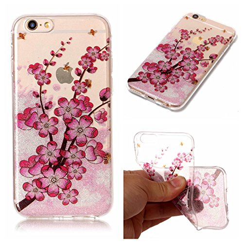 Ecoway Apple iPhone 6s Plus(5.5 Zoll ) Case Cover, TPU Clear Soft Silicone Housse en silicone Housse de protection Housse pour téléphone portable pour Apple iPhone 6s Plus(5.5 Zoll ) - Papillon fleur de prunier