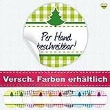 cute-head 24 Aufkleber/Etiketten / Sticker | Landhausstil Kariert Tannenbaum/Weihnachtsbaum | Rund | Ø 40 mm | Blanko | Hellgrün/Grün | F00103-02