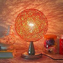 Global- Estilo moderno simple E27 Cuerpo Tipo de tapa de hierro de luz luces decorativas creativo de la manera cáñamo Bola Pantalla Lámpara de mesa de la sala dormitorio lámpara de cabecera ( Color : Naranja )