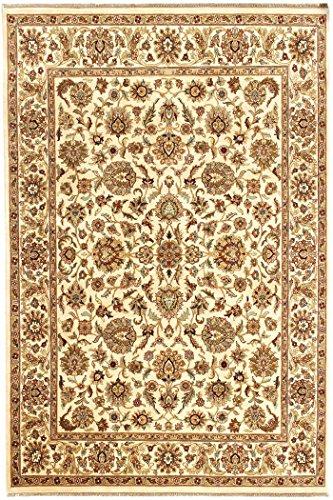Arts of India Handgefertigt indisch Blumen Design Beige Wolle Handgeknüpft Jaipur/Orientalisch 9'X12' Bodenfläche Teppich -